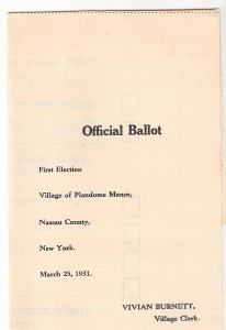 First official ballot for office at the Village of Plandome Manor in 1931.